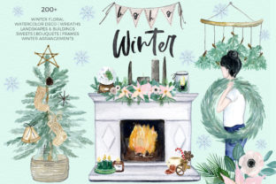 Boho Winter Christmas Watercolors Graphic Illustrations By LABFcreations