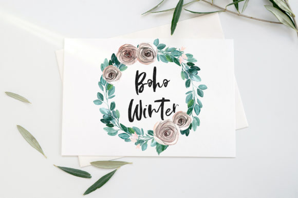 Boho Winter Christmas Watercolors Graphic Graphic