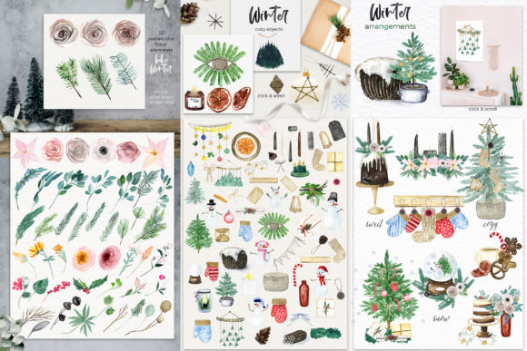Boho Winter Christmas Watercolors Graphic Preview