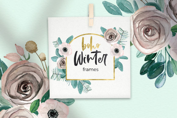 Boho Winter Christmas Watercolors Graphic Image