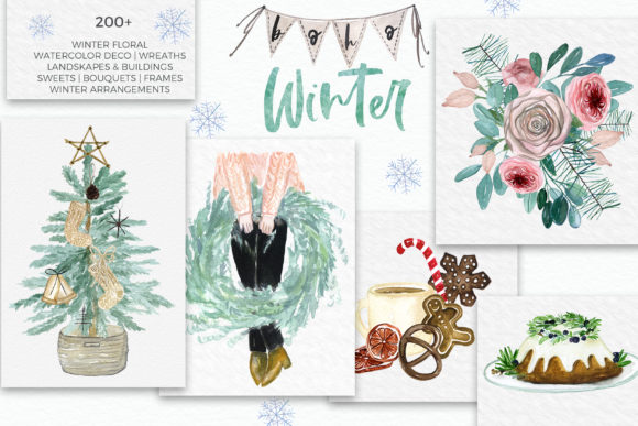 Boho Winter Christmas Watercolors Graphic Design Item