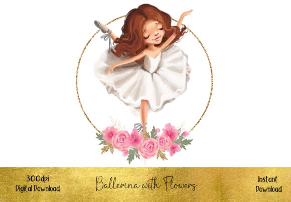 Brunette Ballerina with Flowers Graphic Illustrations By STBB