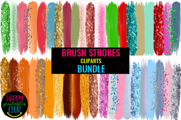 Brush Strokes Clipart Bundle Graphic Illustrations By Happy Printables Club