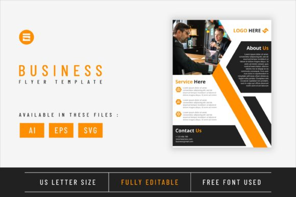 Business Flyer Template with Amber Color Graphic Print Templates By Saidi Creative
