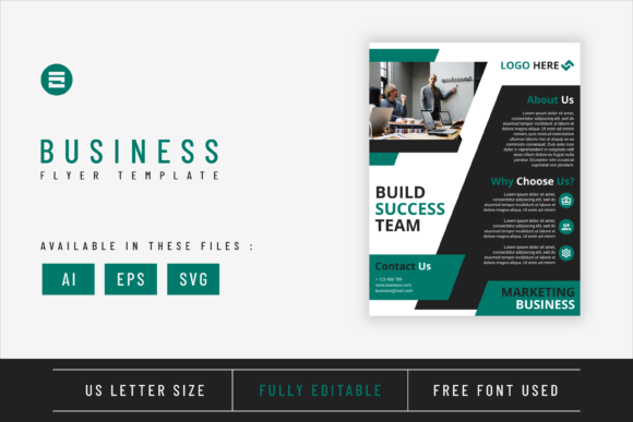 Business Flyer Template with Teal Colour Graphic