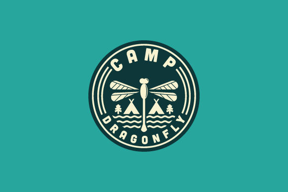 Print on Demand: Camp Dragonfly Simple Logo Design Graphic Logos By Prosperos