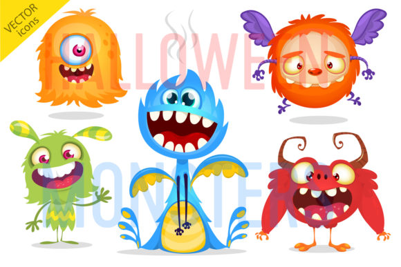 Cartoon Funny Monsters Set Illustration Graphic Illustrations By drawkman