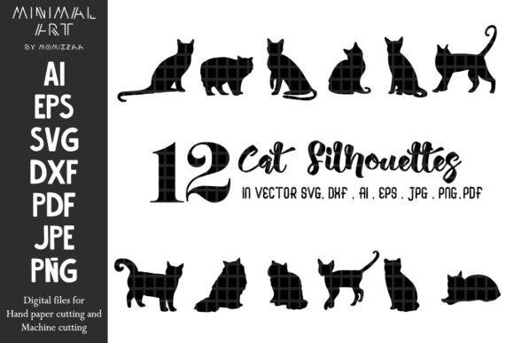 Print on Demand: Cats Silhouettes Lovely Sublimation Graphic Crafts By Momixzaa