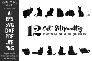 Print on Demand: Cats Silhouettes Lovely Sublimation Gráfico Crafts Por Momixzaa