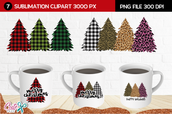 Christmas Tree Sublimation Clipart Graphic Print Templates By Cute files