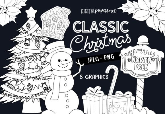 Print on Demand: Classic Christmas Outlines Graphic Illustrations By DigitalPapers