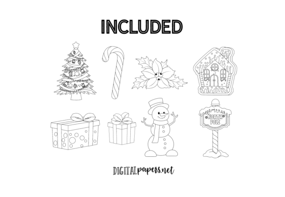 Classic Christmas Outlines Graphic Download