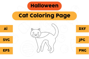 Coloring Page Halloween Kids Cat Graphic Coloring Pages & Books Kids By isalsemarang