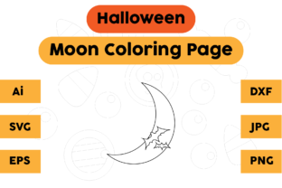 Coloring Page Halloween Kids Moon Graphic Coloring Pages & Books Kids By isalsemarang