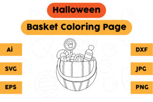 Coloring Page Kids Basket Halloween Graphic Coloring Pages & Books Kids By isalsemarang