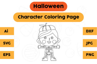 Coloring Page Kids Character Halloween Graphic Coloring Pages & Books Kids By isalsemarang