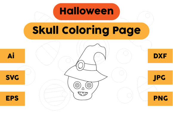 Coloring Page Kids Skull Halloween Graphic Coloring Pages & Books Kids By isalsemarang