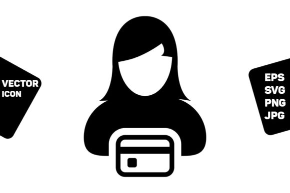 Print on Demand: Credit Card Icon Vector Female User Grafik Icons von TukTuk Design