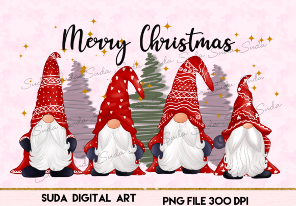 Print on Demand: Cute Gnomes Christmas Sublimation Graphic Illustrations By Suda Digital Art