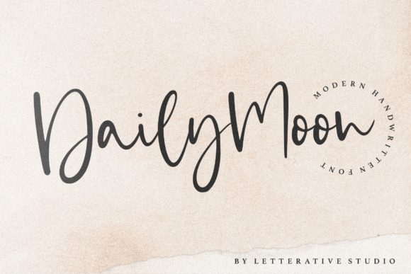 Print on Demand: Daily Moon Script & Handwritten Font By letterativestudio
