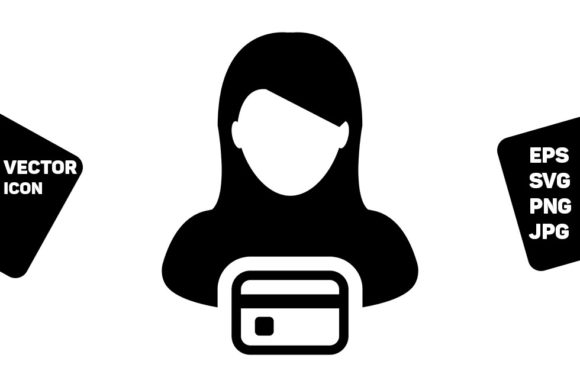 Print on Demand: Debit Card Icon Vector Female User Grafik Icons von TukTuk Design