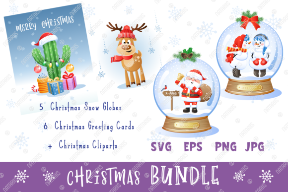 Digital Christmas Set with 5 Snow Globes Graphic Illustrations By Natariis Studio