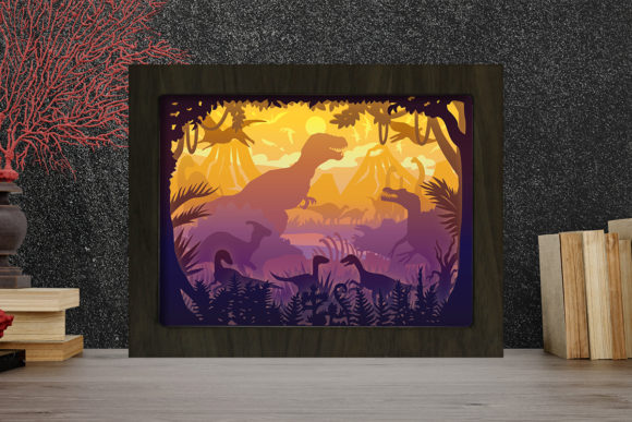Print on Demand: Dinosaurs Light Box Shadow Box Graphic Graphic 3D Shadow Box By LightBoxGoodMan
