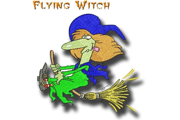 Flying Witch Sewing & Crafts Embroidery Design By BabyNucci Embroidery Designs