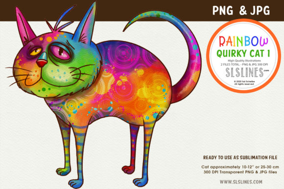 Print on Demand: Funky Rainbow Cat Illustration PNG Graphic Illustrations By SLS Lines