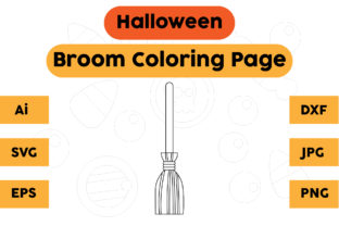 Halloween Broom Coloring Pages for Kids Graphic Coloring Pages & Books Kids By isalsemarang