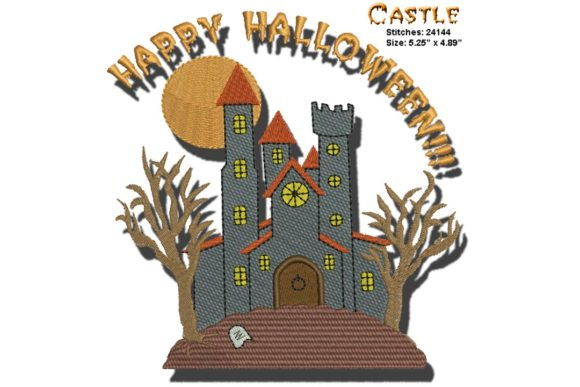 Halloween Castle Halloween Embroidery Design By BabyNucci Embroidery Designs