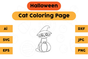 Halloween Coloring Page for Kids Cat Graphic Coloring Pages & Books Kids By isalsemarang