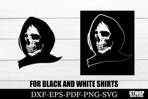 Print on Demand: Halloween Skull for Black and White Tee Graphic Crafts By KtwoP