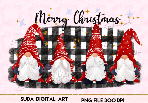 Print on Demand: Happy Cute Gnomes Christmas Sublimation Graphic Illustrations By Suda Digital Art