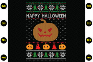 Print on Demand: Happy Halloween Christmas Sweater Graphic Graphic Templates By BDB_Graphics