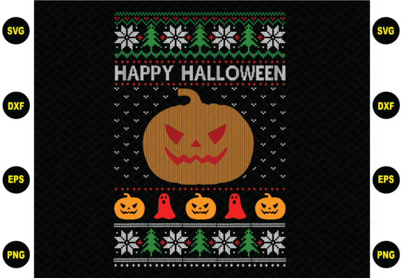 Happy Halloween Christmas Sweater Graphic Graphic Templates By BDB_Graphics