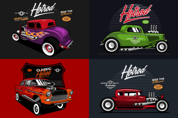 Hotrod Vector Cars Graphic Illustrations By BOLDgraphic