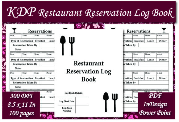 Print on Demand: KDP Restaurant  Reservation Log Book Graphic KDP Interiors By Ivana Prue