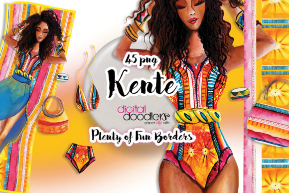 Print on Demand: Kente Watercolor Graphic Set Graphic Illustrations By Digital Doodlers