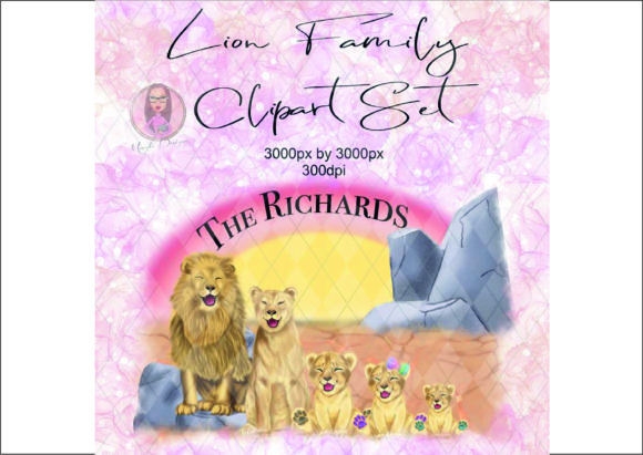 Lion Family Clipart Set Graphic Illustrations By Marelia Designs