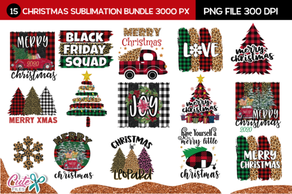 Merry Christmas Sublimation Bundle Grafik Print Templates von Cute files