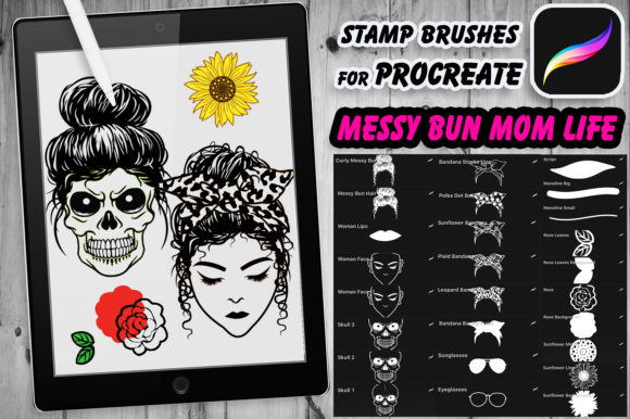 Print on Demand: Messy Bun Momlife Brushes for Procreate Graphic Brushes By V-Design Creator