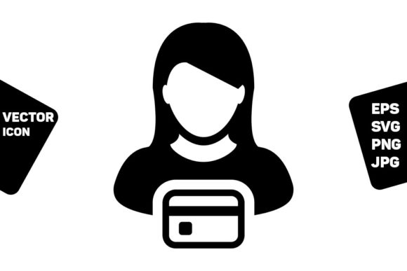 Print on Demand: Payment Icon Vector Female User Person Graphic Icons By TukTuk Design
