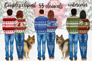 Print on Demand: People with Dogs Winter Couples Graphic Illustrations By LeCoqDesign