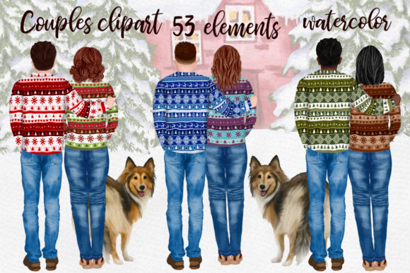 People with Dogs Winter Couples Graphic Illustrations By LeCoqDesign