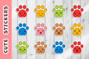 Print on Demand: Pet Paws Cute Emoji Stickers Set Graphic Illustrations By DTCreativeLab
