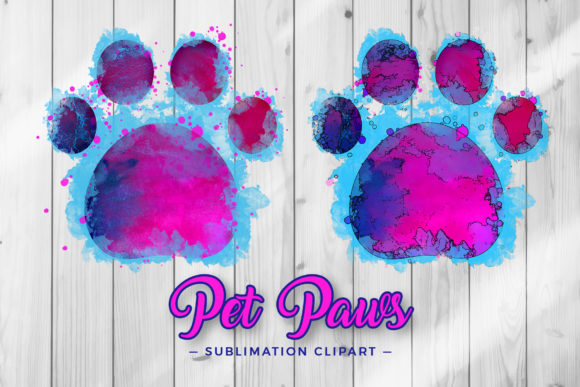 Print on Demand: Pet Paws Sublimation Clipart Graphic Crafts By DTCreativeLab