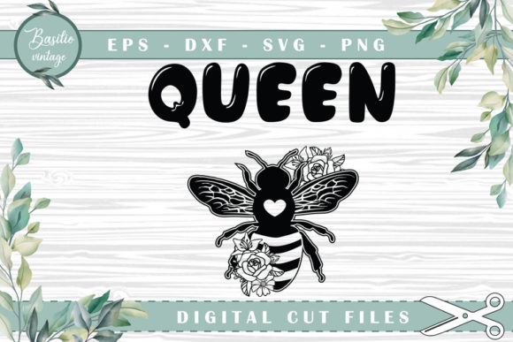 Queen Bee Floral Cutting Files Graphic Crafts By basilio.vintage