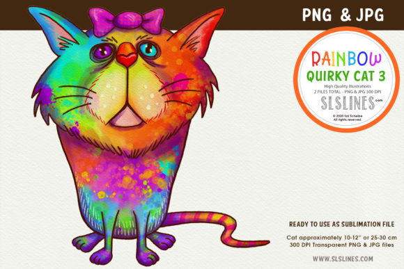 Print on Demand: Rainbow Quirky Cat Illustration PNG Graphic Illustrations By SLS Lines