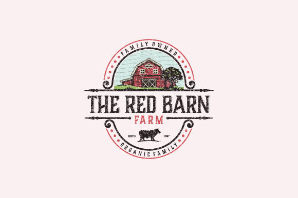 Print on Demand: Red Barn Vintage Logo Design Graphic Logos By Prosperos